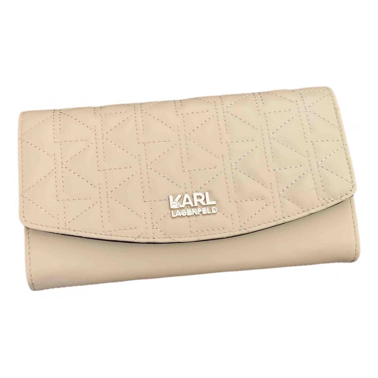 Karl Lagerfeld \N Portemonnaie in  Beige Leder