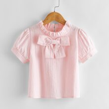 Toddler Girls Bow Front Frill Neck Blouse
