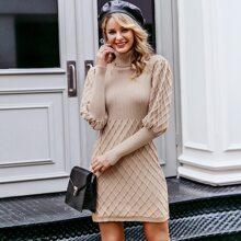 Turtle Neck Gigot Sleeve Bodycon Sweater Dress