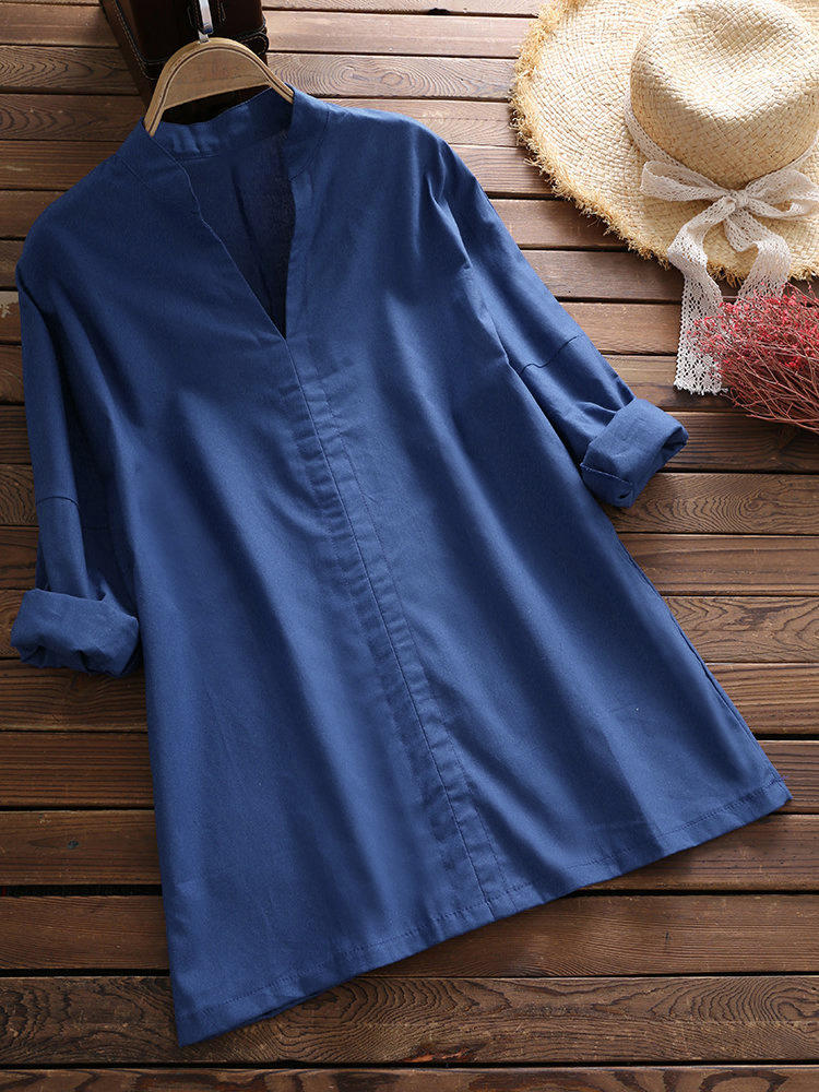 Women Solid Color V-neck Casual Blouse Shirts