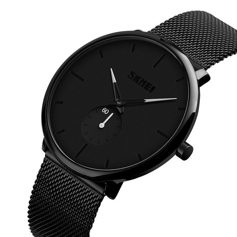Casual Style Ultra Thin Simple Men Wrist Watch Mesh Stainless Steel Strap Quartz Watc