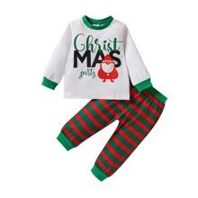Toddler Girls Christmas & Letter Graphic Sweatshirt & Striped Sweatpants