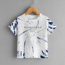 T-Shirt mit Batik und Buchstaben Grafik