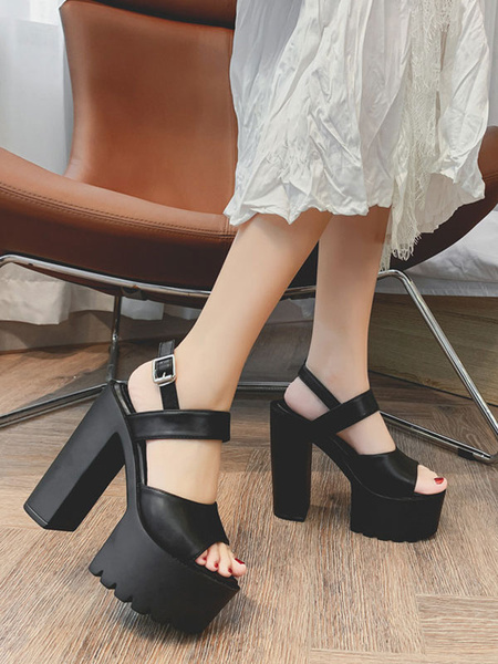 Milanoo Sexy Black Sandals Chunky PU Chic Rubber Platform Sexy Sandals