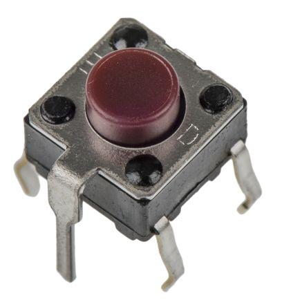 Panasonic Red Push Plate Tactile Switch, Single Pole Single Throw (SPST) 20 mA 5mm (50)
