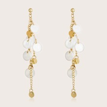 1pair Round Shell & Chain Decor Tiered Drop Earrings