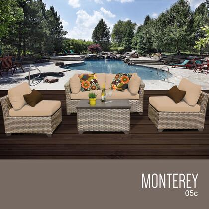 MONTEREY-05c-WHEAT Monterey 5 Piece Outdoor Wicker Patio Furniture Set 05c with 2 Covers: Beige and