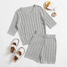 Strick Pullover mit Streifen & Shorts