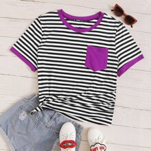 Grosse Grossen - T-Shirt mit Kontrast Taschen Flicken und Streifen