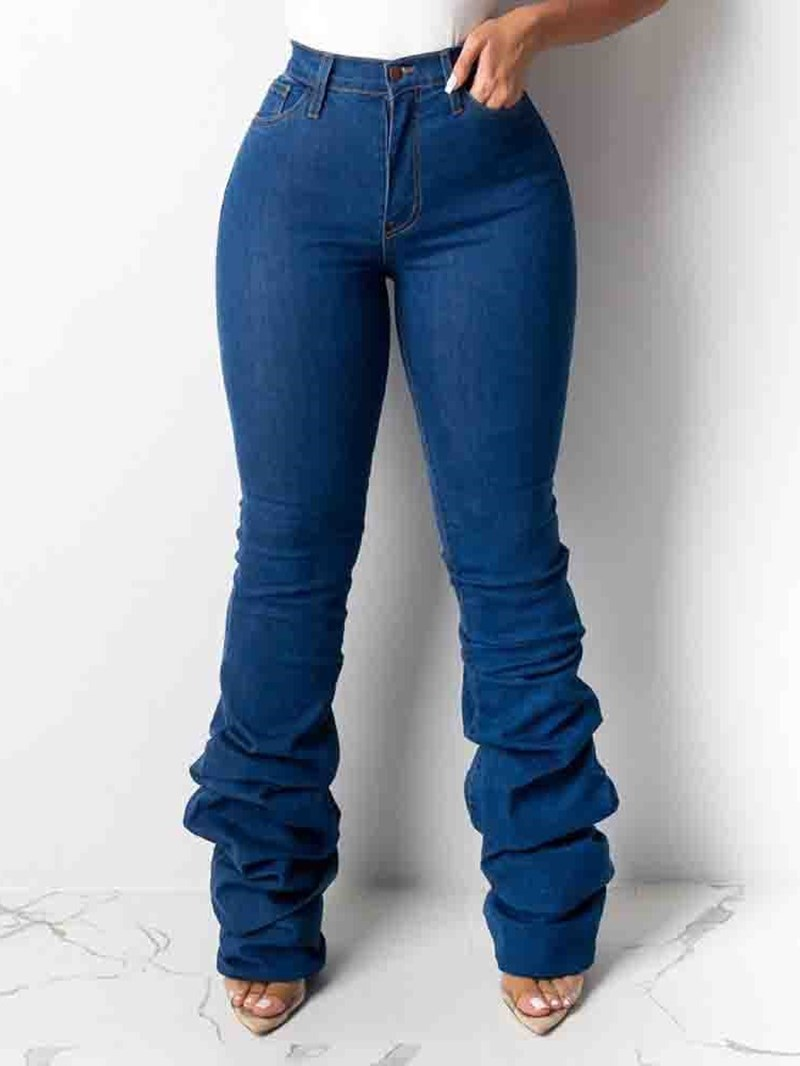 Ericdress Plain Slim High Waist Heap Jeans