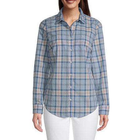 St. John's Bay Womens Long Sleeve Regular Fit Button-Down Shirt, Petite X-large , Blue