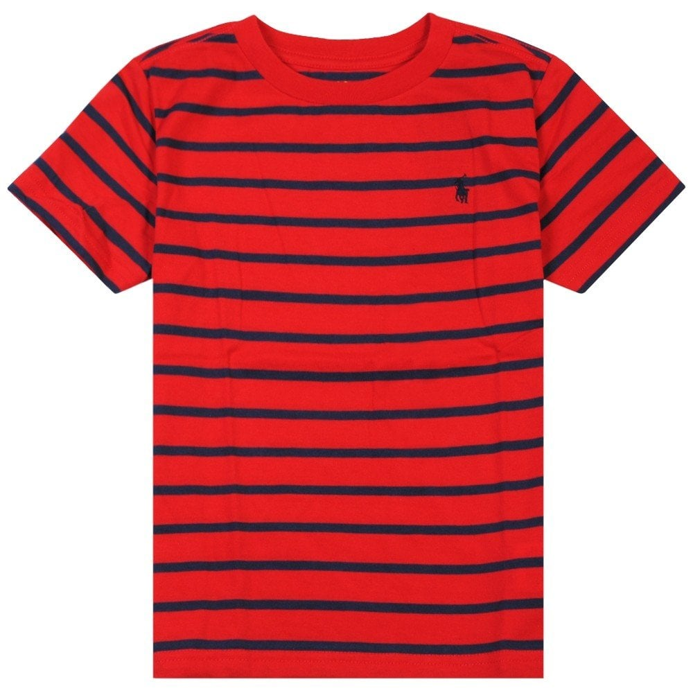 Ralph Lauren Kids Stripped Logo T-Shirt Colour: RED, Size: 8 YEARS