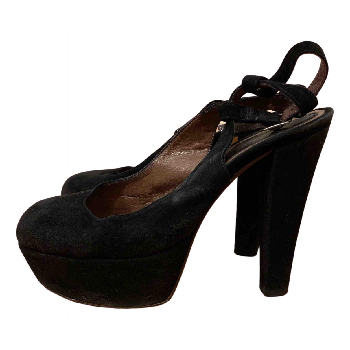 Marni - Sandales   pour femme en suede - noir