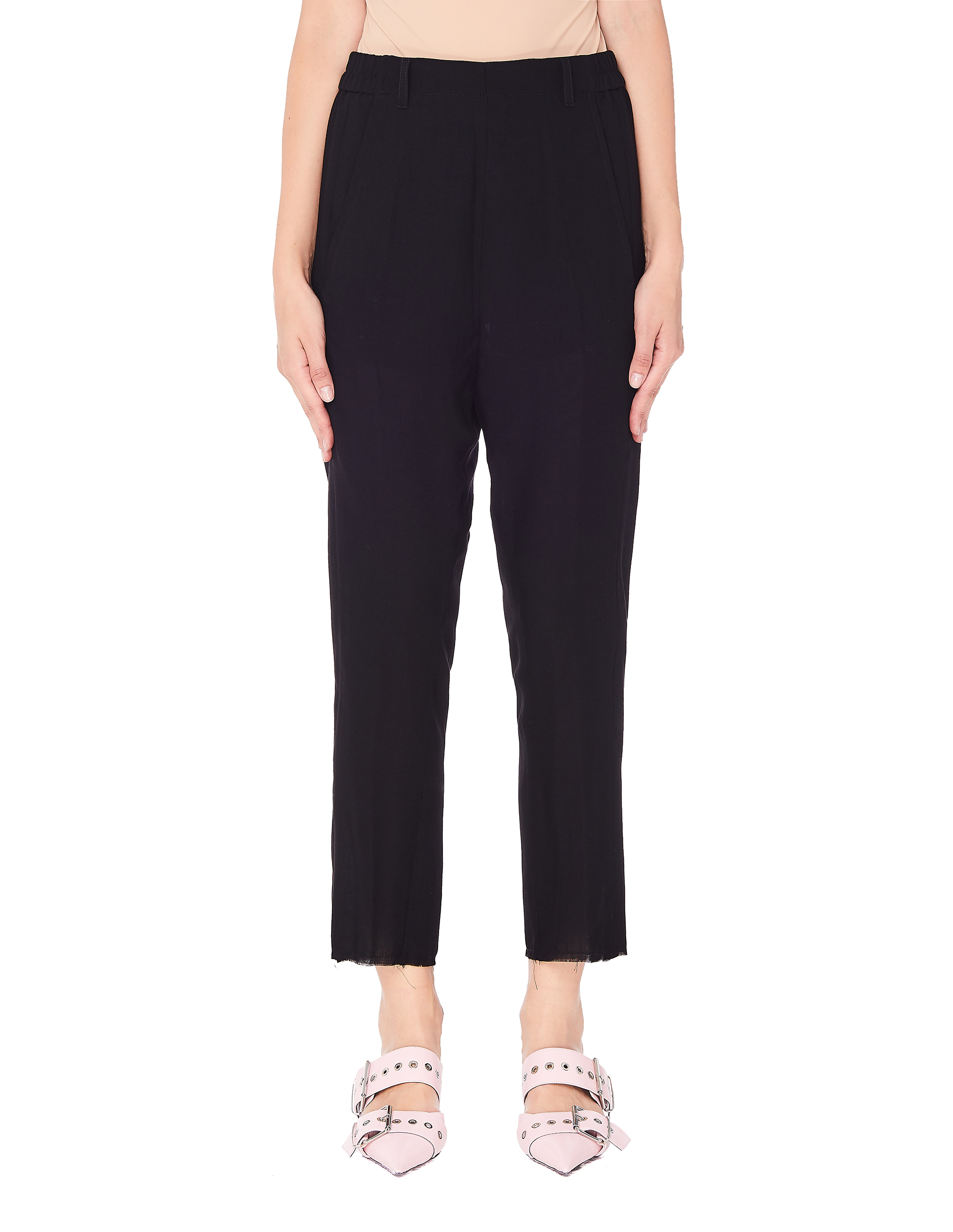 Ann Demeulemeester Black Wool Cropped Trousers