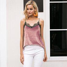 Contrast Lace Velvet Cami Top