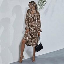 Leopard Choker Neck Wide Waistband Dress