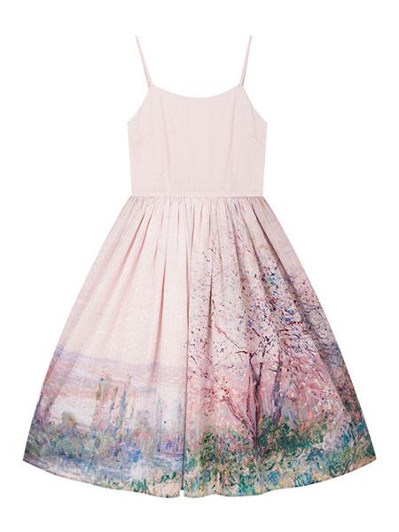 Milanoo Vestido clasico de Lolita JSK Monet Pintura al oleo con estampado Azul Lolita Jumper Faldas