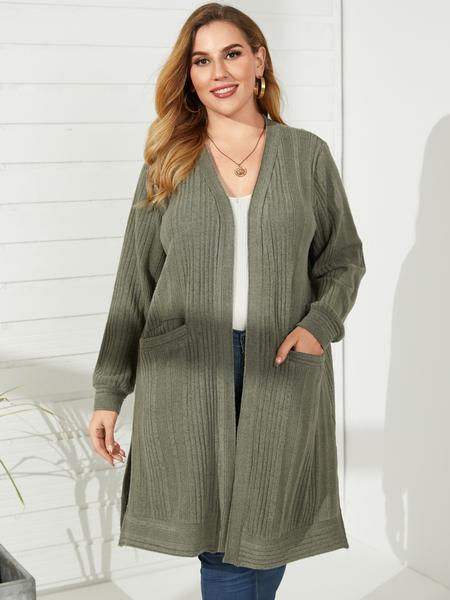 YOINS Plus Size Pocket Slit Design Long Sleeves Knitwear