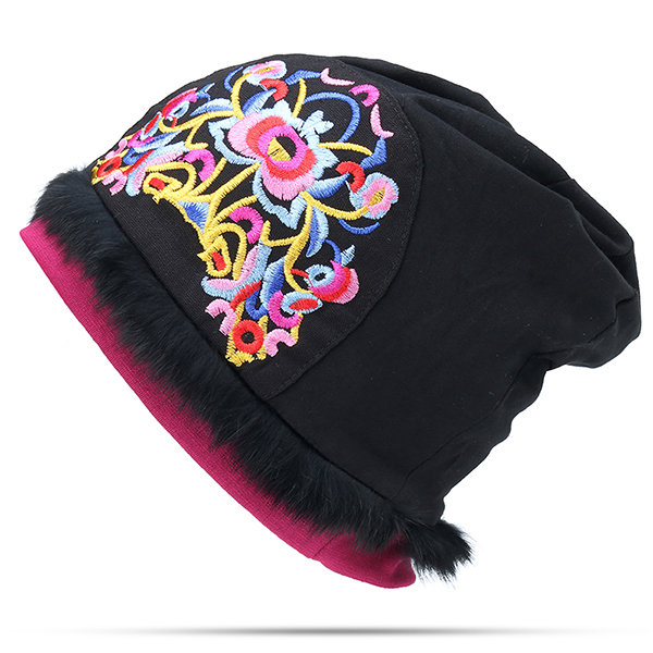 Women Ethnic Style National Flavor Thin Cotton Breathable Beanie Hat Flower Embroidery Turban Cap