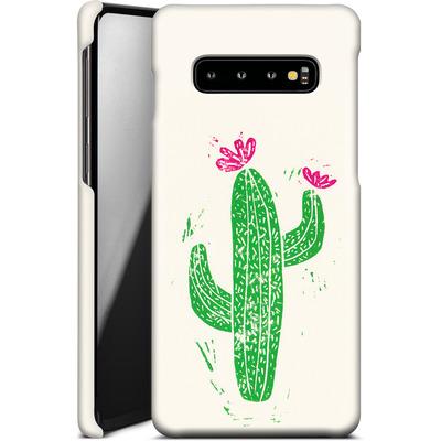 Samsung Galaxy S10 Plus Smartphone Huelle - Linocut Cacti von Bianca Green