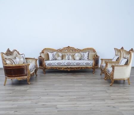 Maggiolini Collection Luxury 3 Pieces Set 1 Sofa + 1 Loveseat + 1 Chair  in Antique Dark