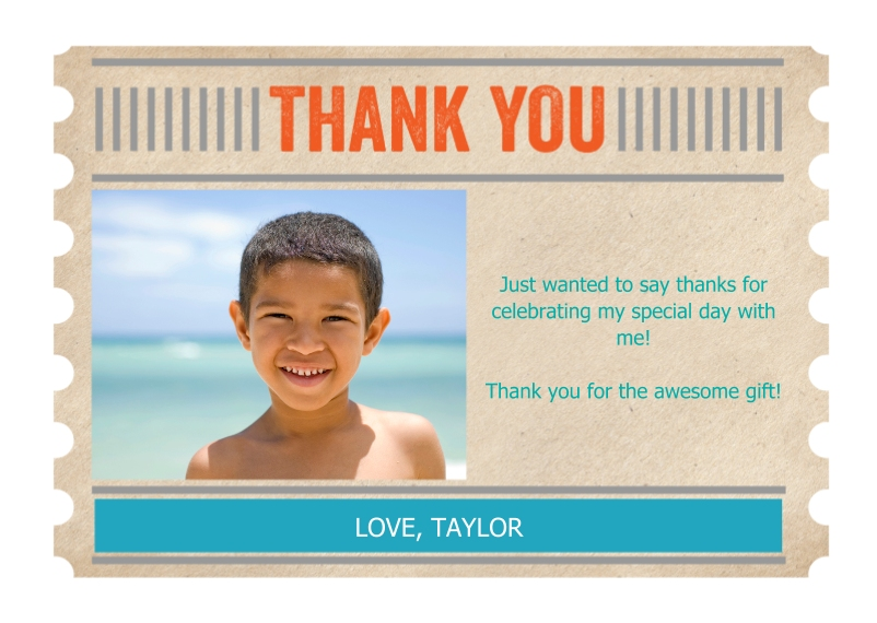Kids Thank You Cards 5x7 Folded Cards, Standard Cardstock 85lb, Card & Stationery -Thank You Ticket