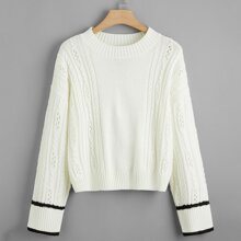 Strick Pullover mit Streifen und sehr tief angesetzter Schulterpartie