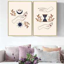 2 Stuecke Leinwandbild mit Hand Muster ohne Rahmen
