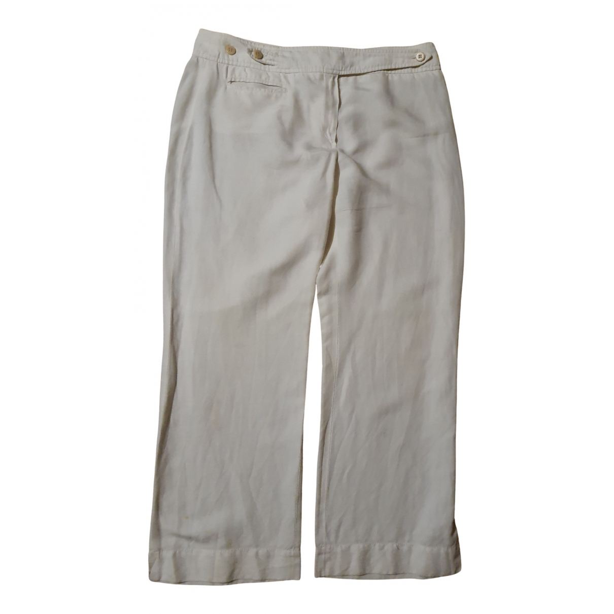 Armani Collezioni N White Linen Trousers for Women 46 IT