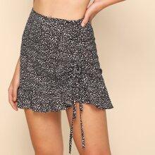 Speckled Print Ruched Drawstring Mini Skirt