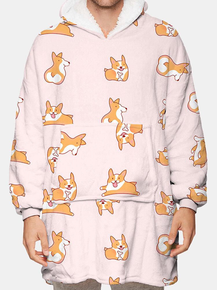 Cute Dog Print Fleece Heated Cozy Sweatshirt Onesies Two-Sided Wearable Blanket Hoodies With Handy Pocket