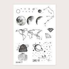 Planeten Muster Taetowierung Aufkleber 1 Blatt