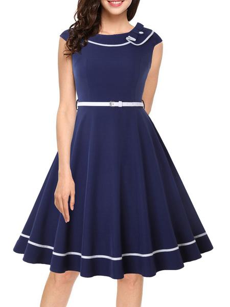 Milanoo Vintage Dress 1950s Dark Navy Woman Short Sleeves Jewel Neck Swing Dress