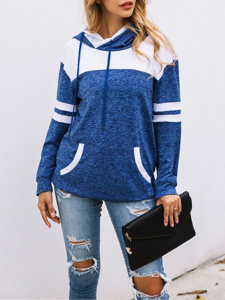 Yoins Blue Pocket Design Long Sleeves Hoodie