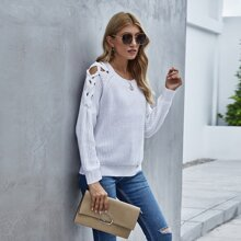 Solid Lace Up Round Neck Sweater
