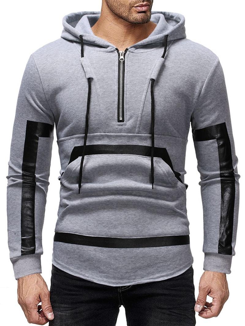 Ericdress Patchwork Color Block Pullover Mens Hoodies