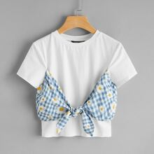 Gingham & Daisy Floral Tie Front Crop Tee