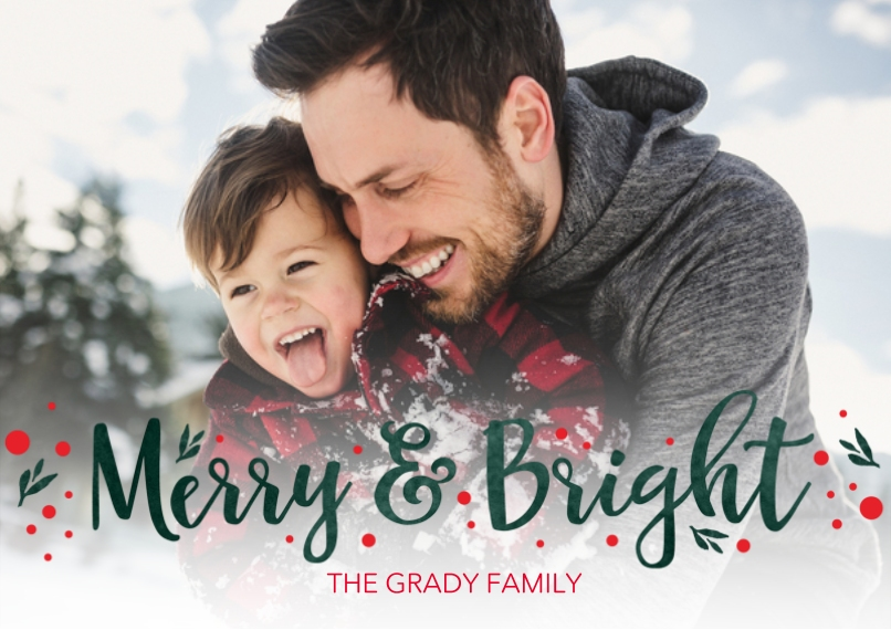 Christmas Photo Cards Flat Glossy Photo Paper Cards with Envelopes, 5x7, Card & Stationery -Merry And Bright Sprigs