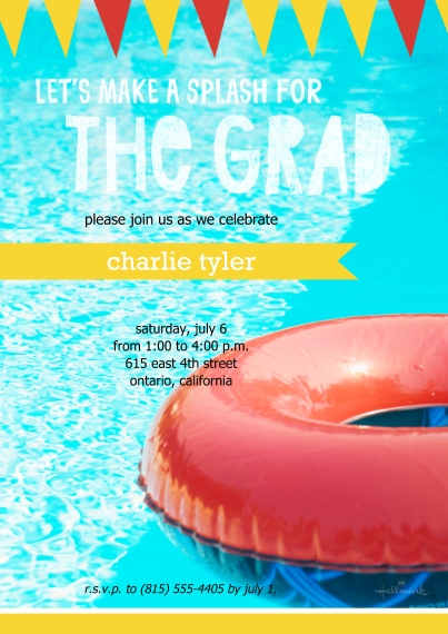Graduation Invitations 5x7 Cards, Premium Cardstock 120lb, Card & Stationery -Pool Party Invitation Banner