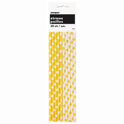Party Paper Pailles à boire Decorative Dots tournesol jaune 10pcs