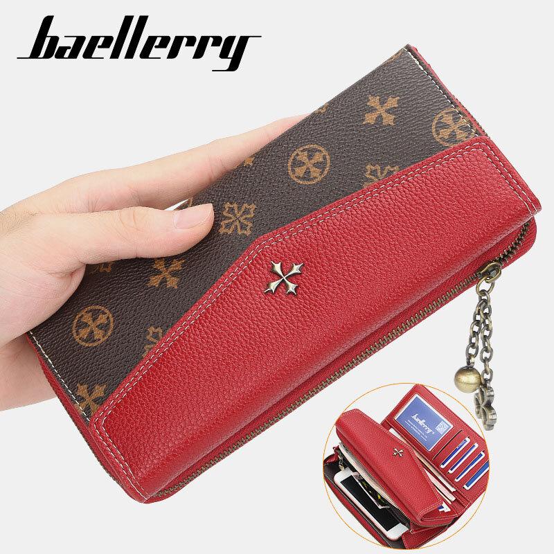 Women Long Zipper Chain Purse Old Pattern Patchwork Card Holder