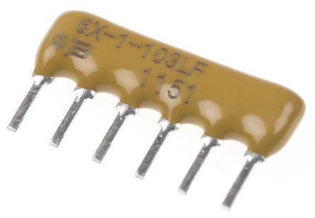 Bourns Bussed Resistor Network 1kΩ ±2% 5 Resistors, 0.75W Total, SIP package 4600X Through Hole (25)