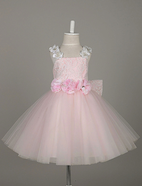 Milanoo Flower Girl Dresses Light Pink Tutu Dress Lace Tulle Flowers Straps Sleeveless Toddler's Pageant Dress With Bow