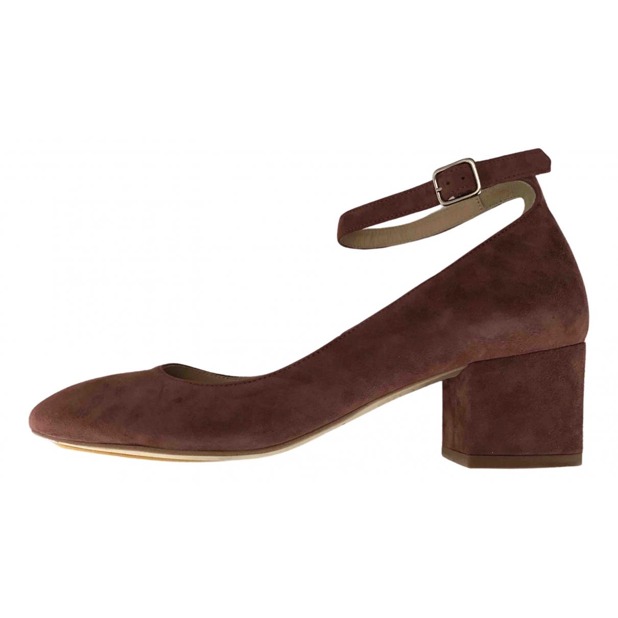 Minelli - Sandales   pour femme en cuir - bordeaux