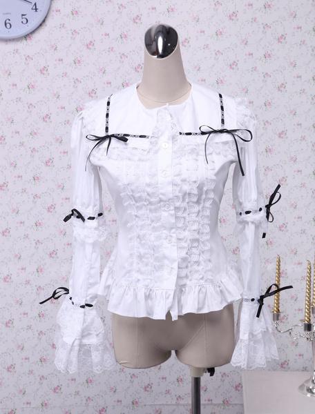 Milanoo Cotton White Lace Lolita Blouse