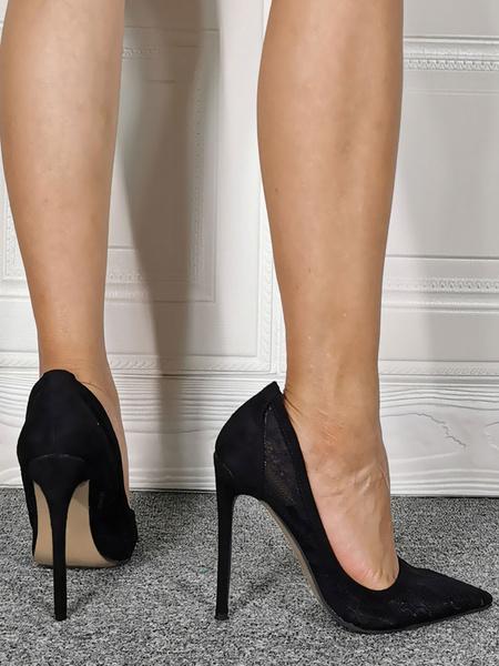Milanoo Women\'s Pumps Slip-On Pointed Toe Stiletto Heel Bohemian Plus Size Black Lace Pump Shoes