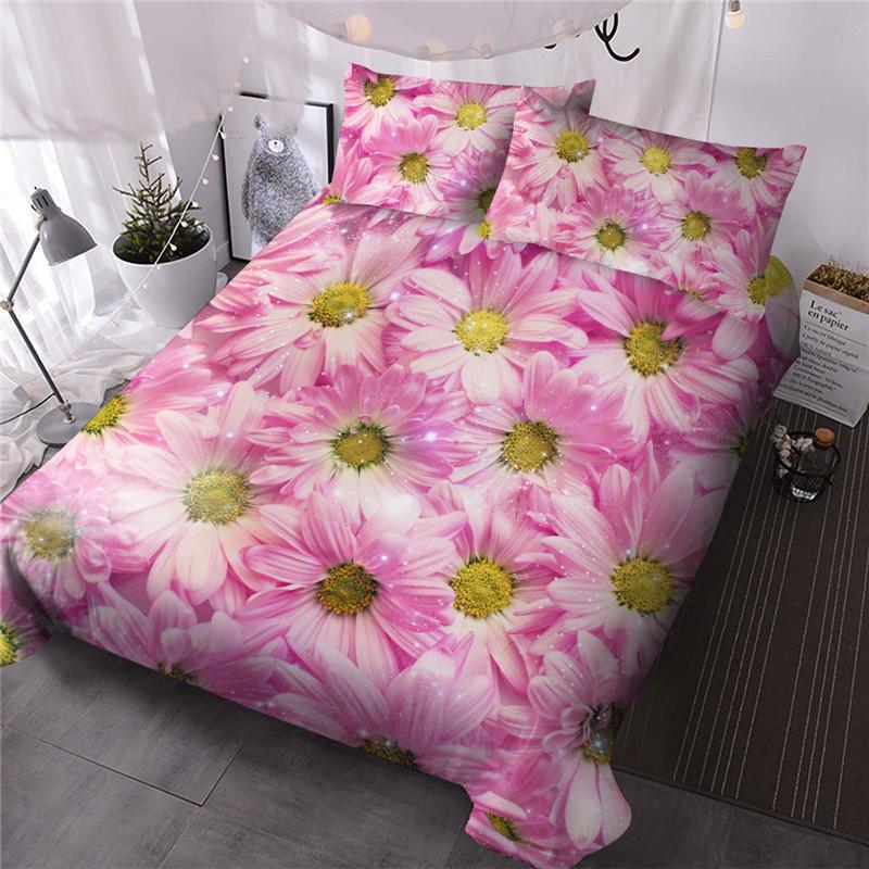 Pink Daisy Three-Piece Set Comforter Set Reactive Printing Polyester Bedding Sets Skin-friendly Ultra-soft Microfiber No-fading