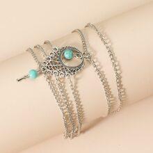 Mehrschichitges Armband mit Tuerkis Dekor