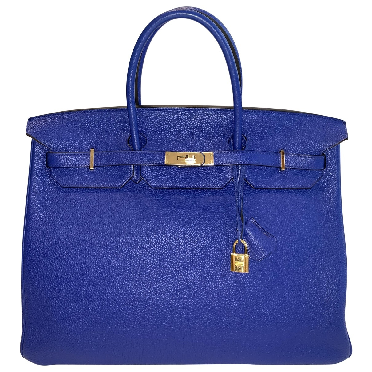 Hermes - Sac a main Birkin 40 pour femme en cuir - bleu