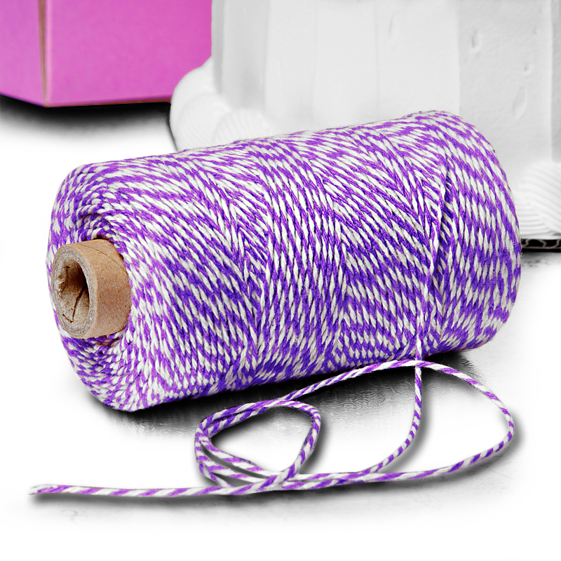 Cotton 4 Ply 240 Yards Purple/White Pm Baker s Twine by Ribbons.com | Length - 240 YardsS